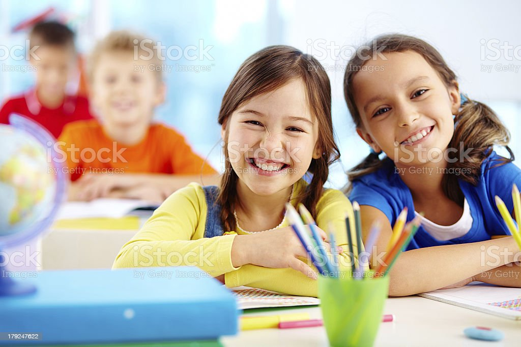 Diligent pupils royalty-free stock photo