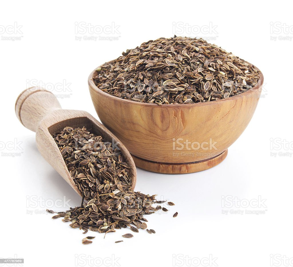 dill seeds isolated on white stock photo
