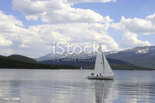 Dillon Lake in Colorado with a boat setting sail.