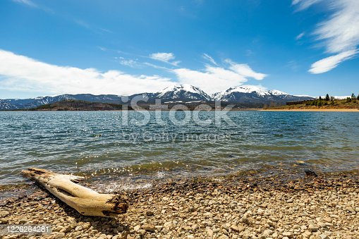 Dillon lake reservoir with mountains in Colorado at summer day