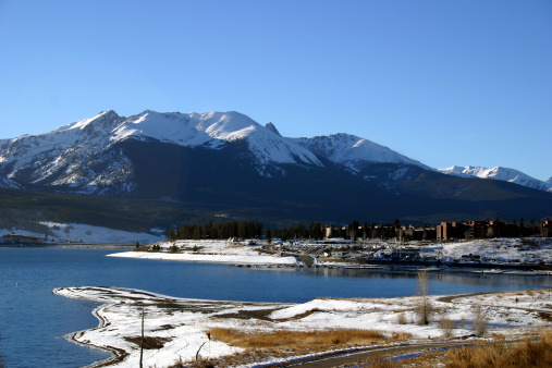 Dillon lake and Rocky Mountains in back.