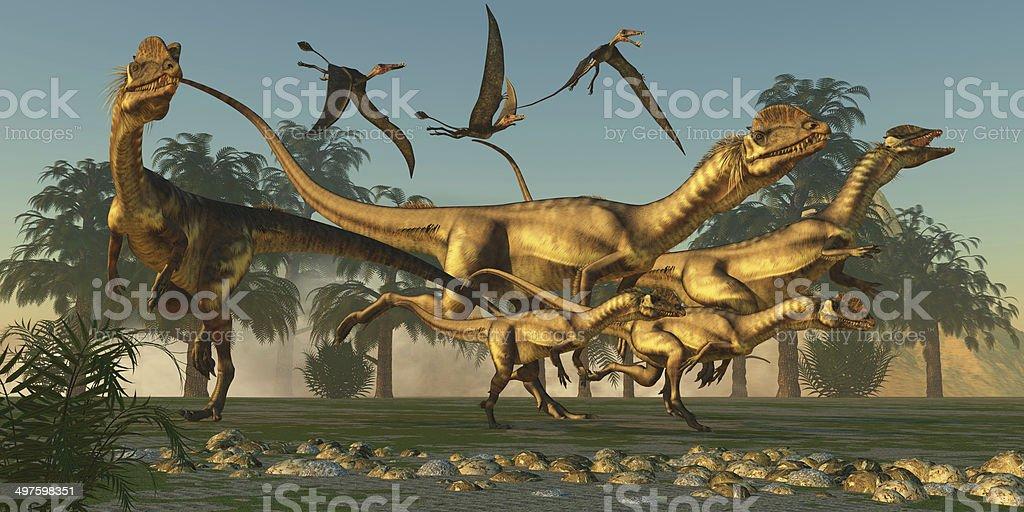 Dilophosaurus Hunt stock photo