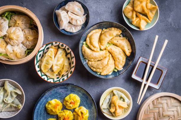 dim sum assorted - dumplings stock photos and pictures