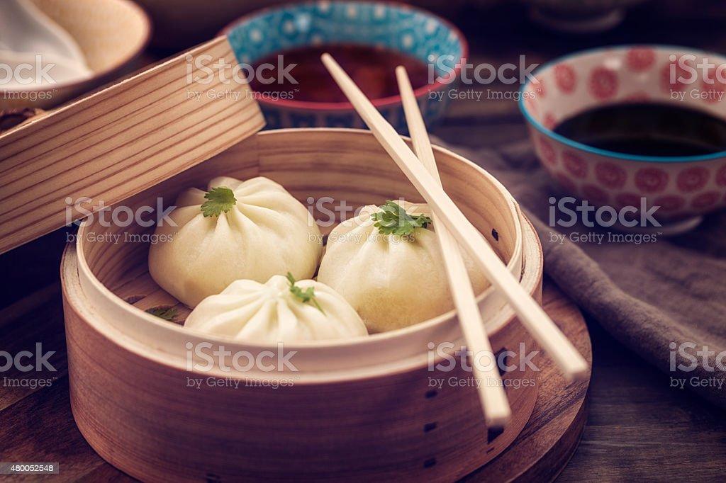 Dim Sum Dumplings Freshly Steamed in a Bamboo Steamer stock photo