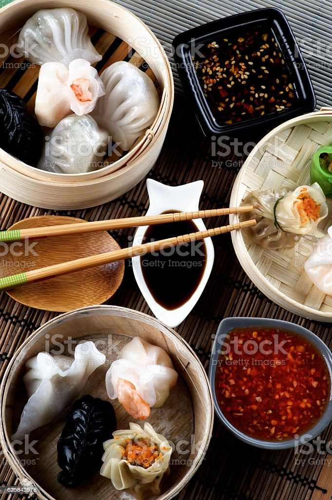 Dim Sum in Bamboo Bowls stock photo