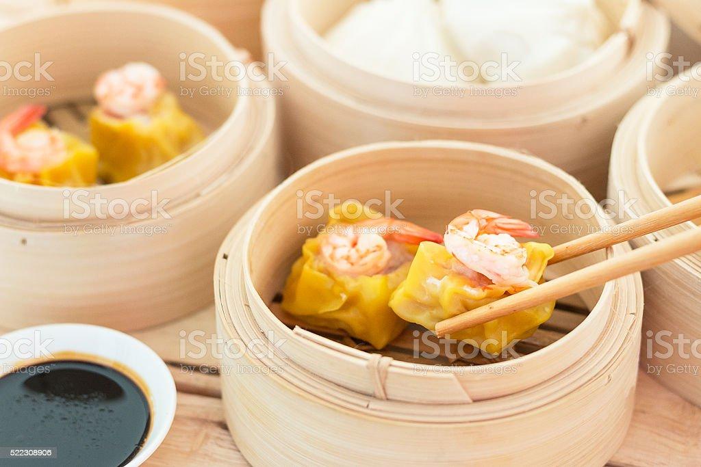 Dim Sum in Bamboo Trays stock photo