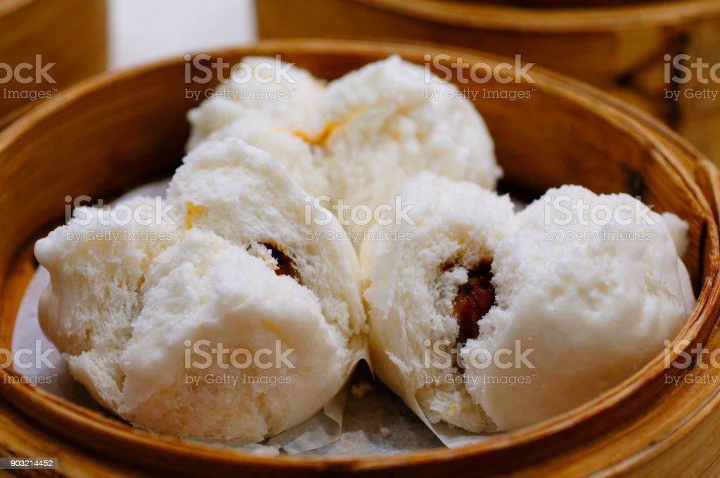 Dim Sum, pork-filled bun stock photo