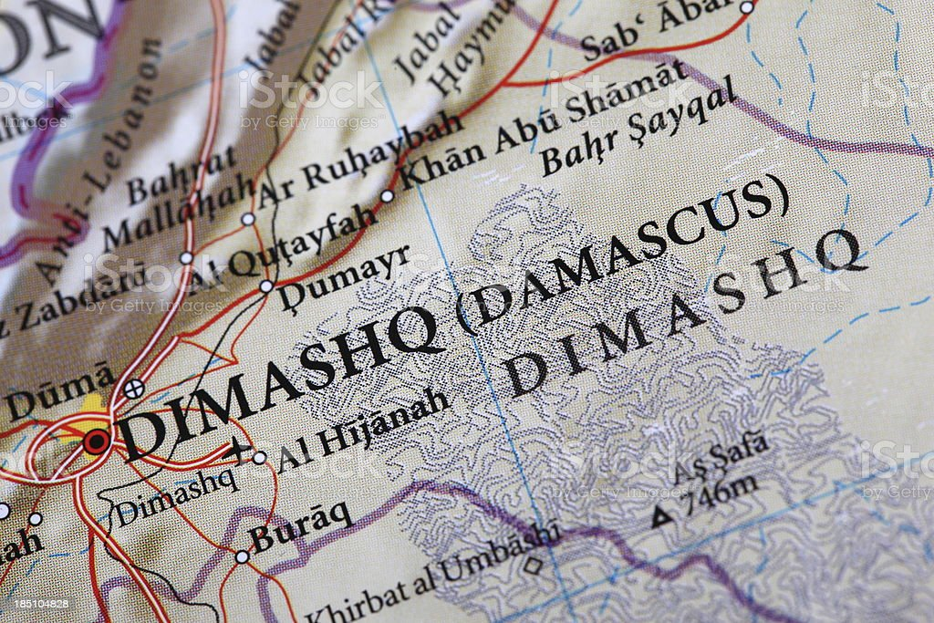 Dimashq Map - Middle East royalty-free stock photo