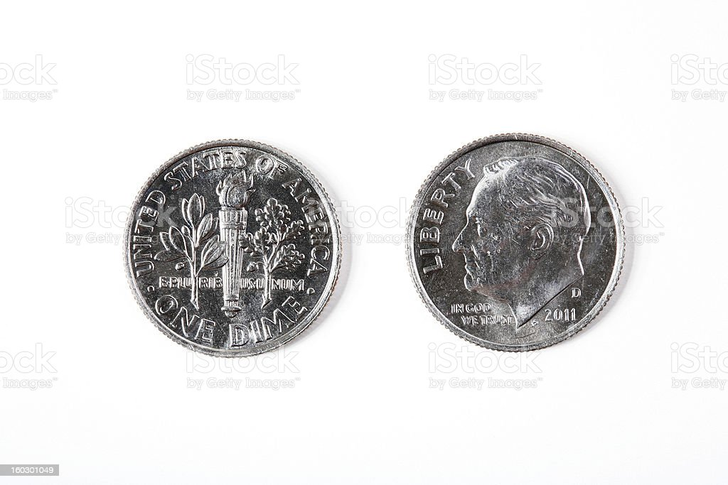 Dime, front and back royalty-free stock photo