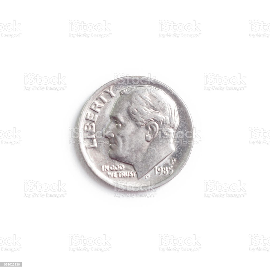 A dime on a white background. stock photo