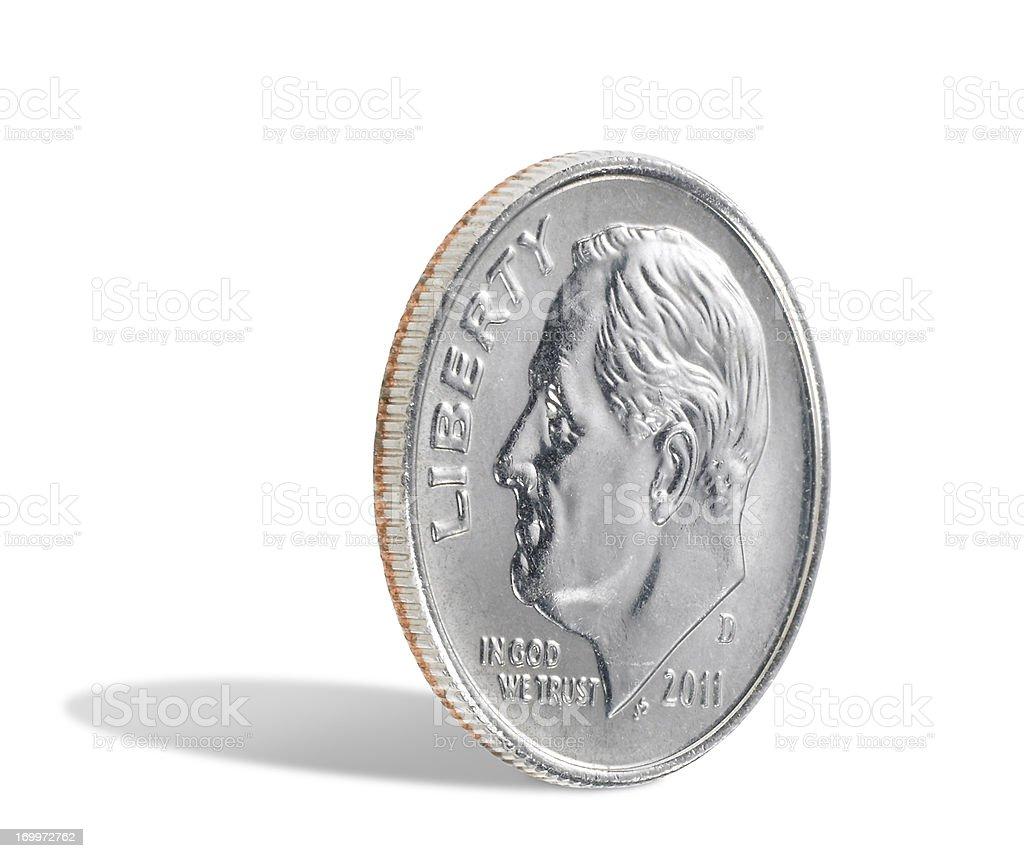 US dime on white background stock photo