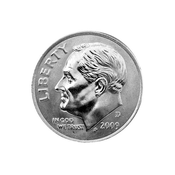 US Dime US Dime on white background dime stock pictures, royalty-free photos & images