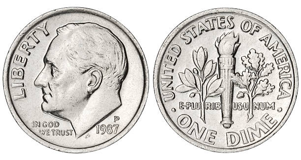 Dime with clipping path on white background US Dime coin isolated on white with clipping path dime stock pictures, royalty-free photos & images