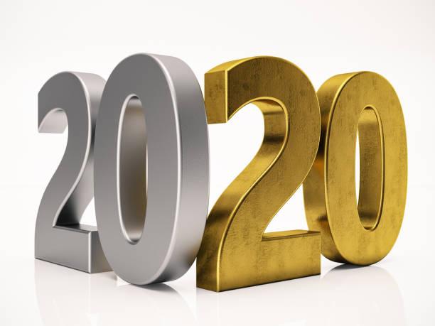 3 dimensional 2020 text auf weiß - 3d typografie stock-fotos und bilder