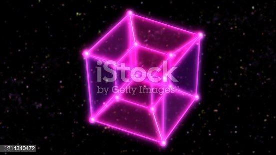istock 4 Dimensional Hypercube Tesseract Rotating in Outer Space and Stars - Abstract Background Texture 1214340472
