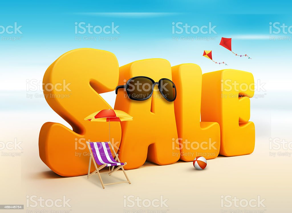 3D Dimensional Sale Title Words for Summer stock photo
