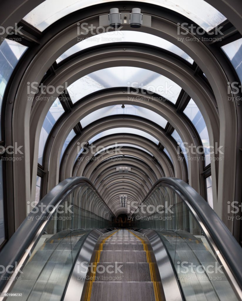 Diminishing perspective in a futuristic escalator tube, where does...