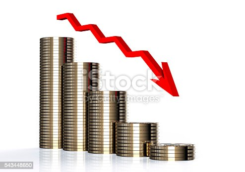 istock diminishing stack of euro coins with arrow 543448650