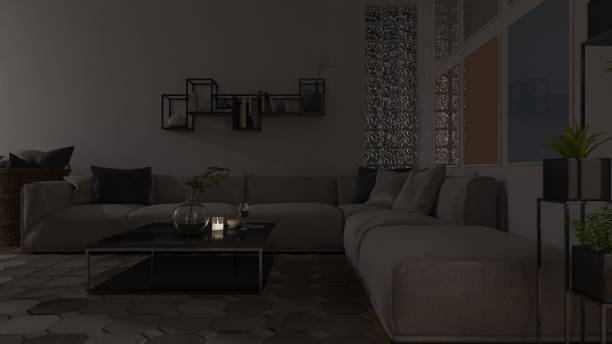 dimly illuminated living room with furniture - dimly stock pictures, royalty-free photos & images
