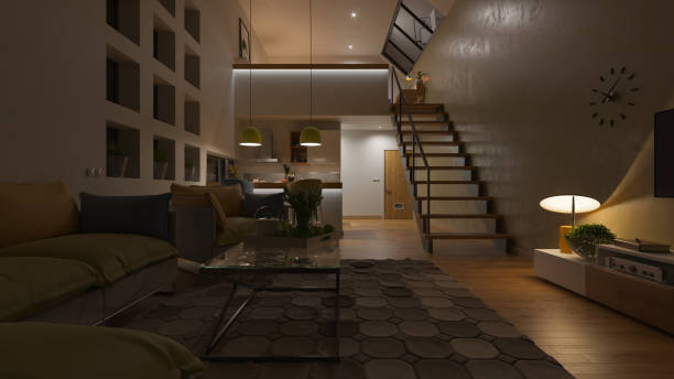 dimly illuminated open plan house with a mezzanine at night - low lighting stock photos and pictures
