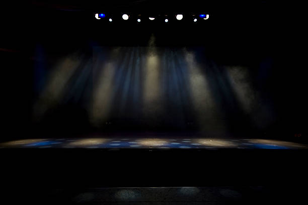 a dimly lit stage with several spotlights shining - dimly stock pictures, royalty-free photos & images