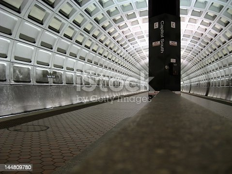 The Capitol South Metro Tunnel stop in Washington DC. Image taken August of 2007 with a Canon Powershot 7.2 MP Digital Camera.