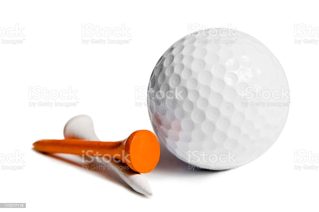 Dimpled golf ball and two tees on a white background stock photo