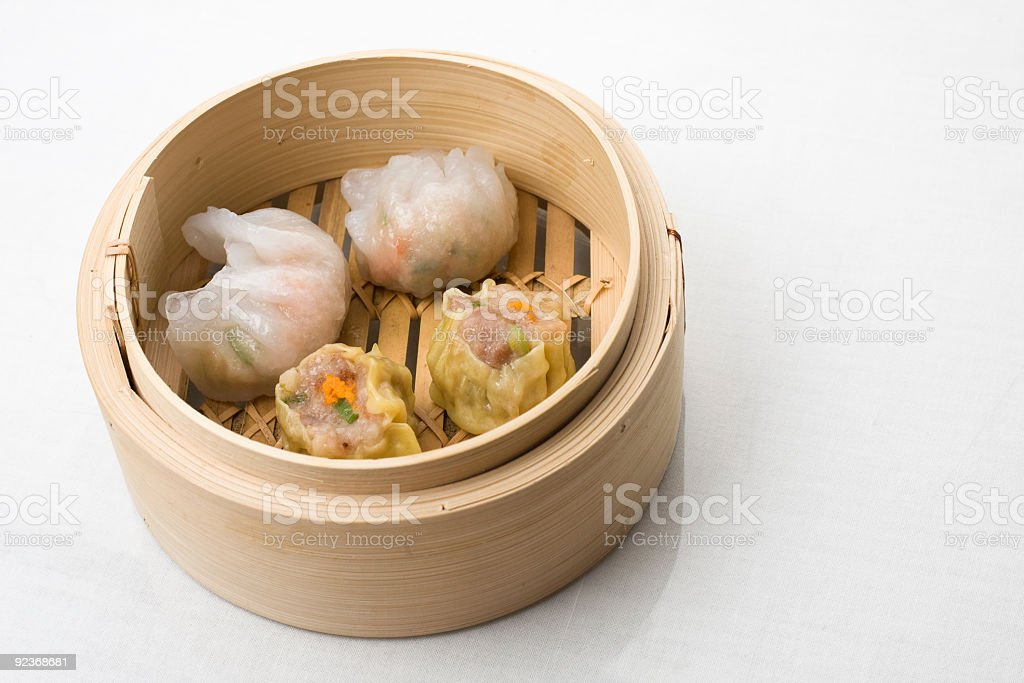 Dimsum Hagao and Shumai mix in a chinese bamboo steam basket stock photo