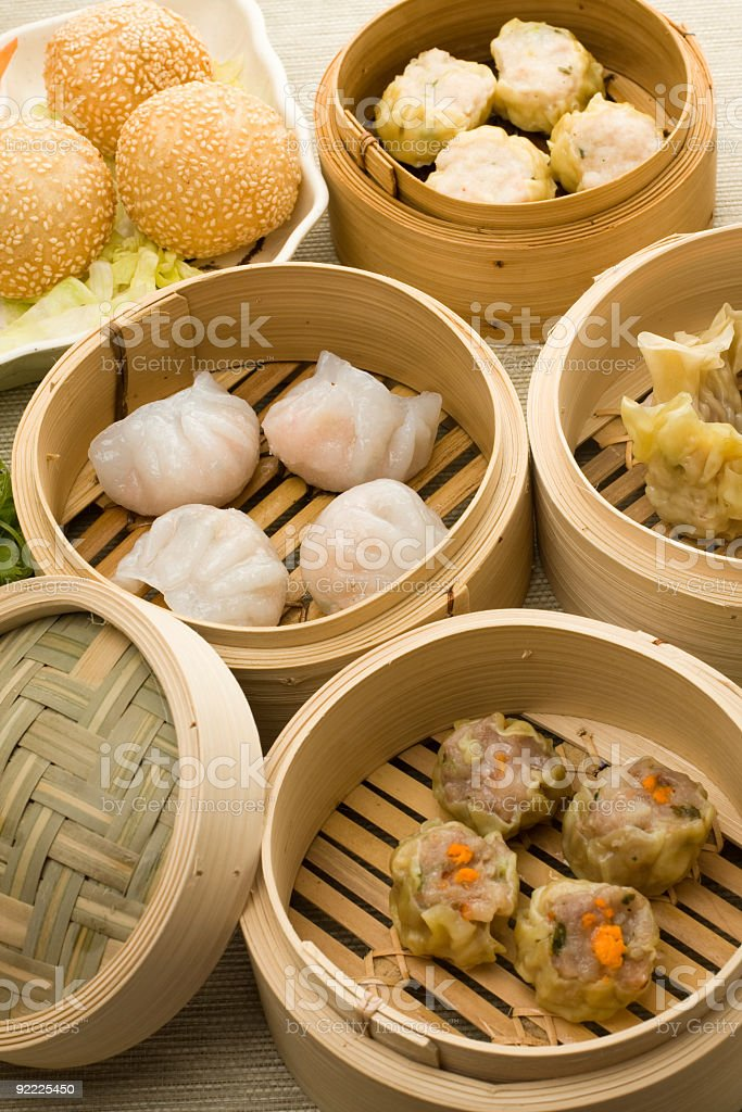 dimsum mix with hagao shumai and sesam balls stock photo