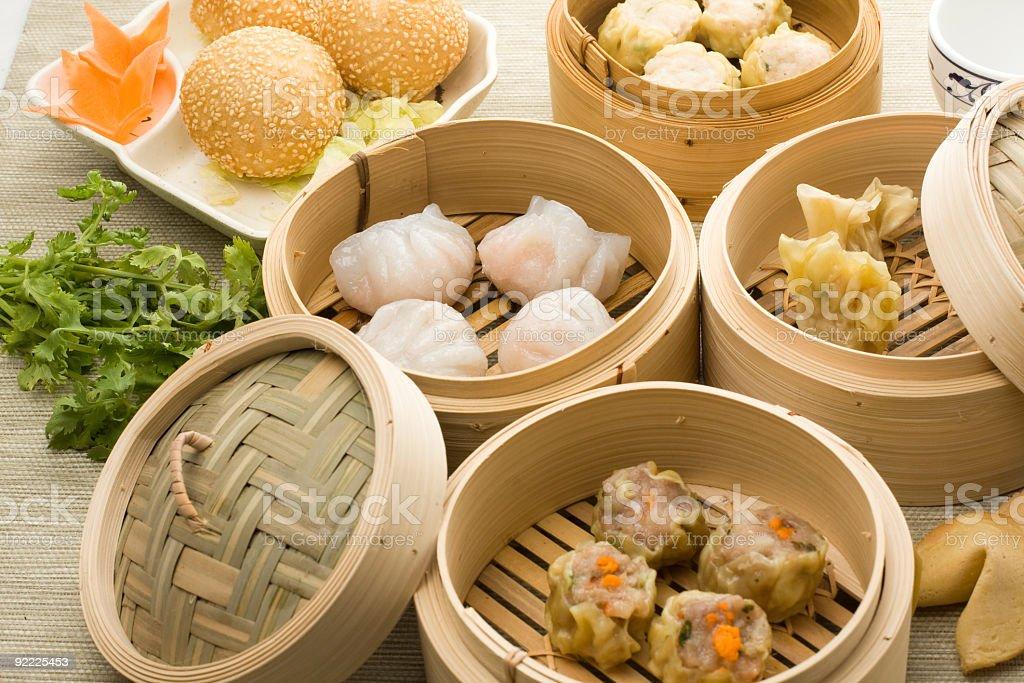 dimsum mix with hagao shumai sesamballs and more stock photo