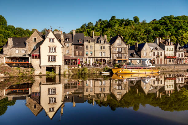 Dinan and the River Rance, Brittany, France stock photo