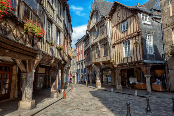 Dinan city, medieval houses in Old Town, Brittany, France stock photo