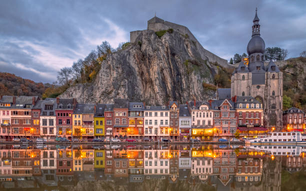 Dinant, Belgium Clear reflection of Dinant meuse river stock pictures, royalty-free photos & images