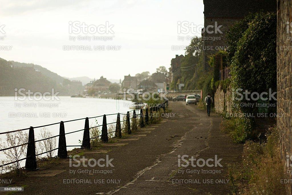 Dinant River-walk way stock photo