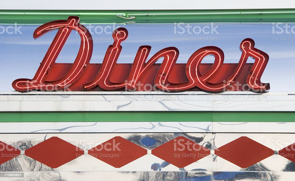 Diner Neon Sign in Red, Roadside Americana 1950's Retro Style stock photo