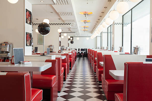 diner restaurant - 1950s style stock photos and pictures
