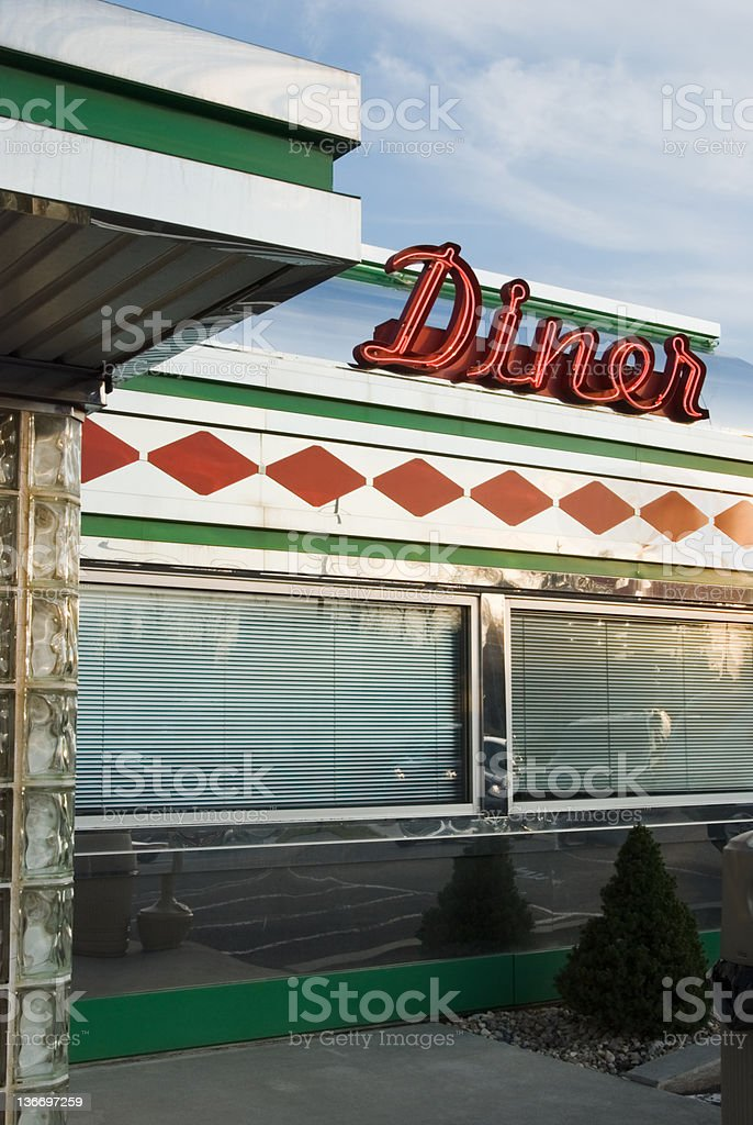 Diner Sign in Red Neon, 1950's Retro Style Business stock photo