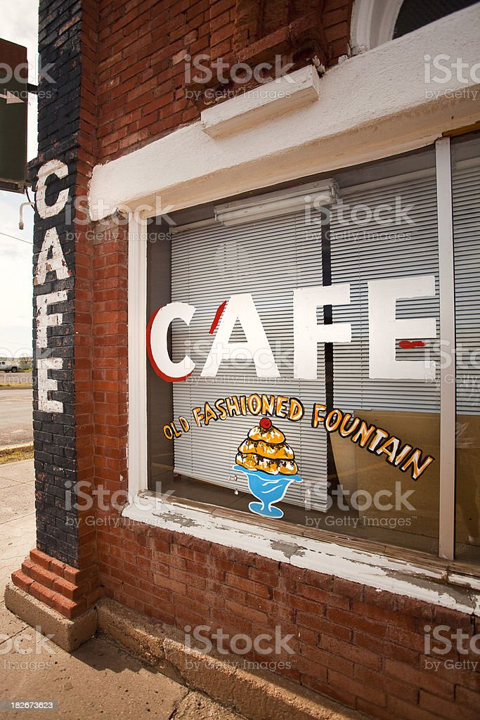 Diner sign on old main street royalty-free stock photo