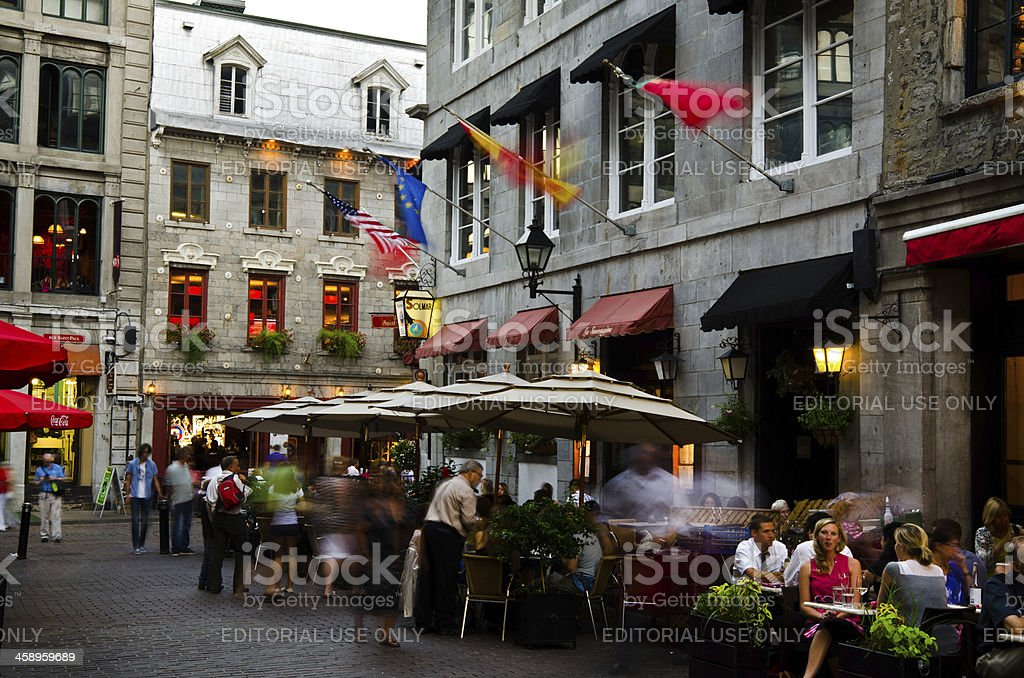 Diners at restaurant on patio in Old Montreal, Quebec stock photo