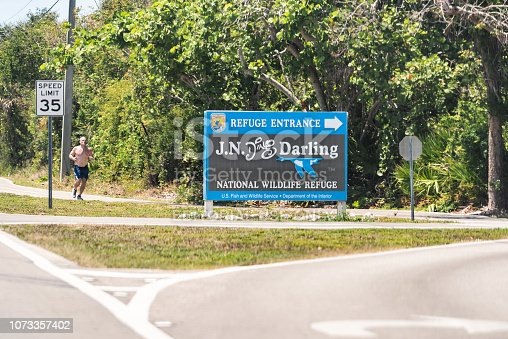 istock JN Ding Darling national wildlife refuge park by beach and road in Fort Myers, Florida sign entrance 1073357402