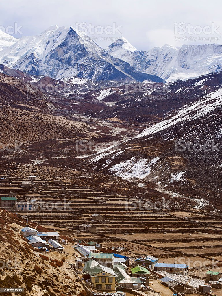 Dingboche Village and Island Peak in Nepal stock photo
