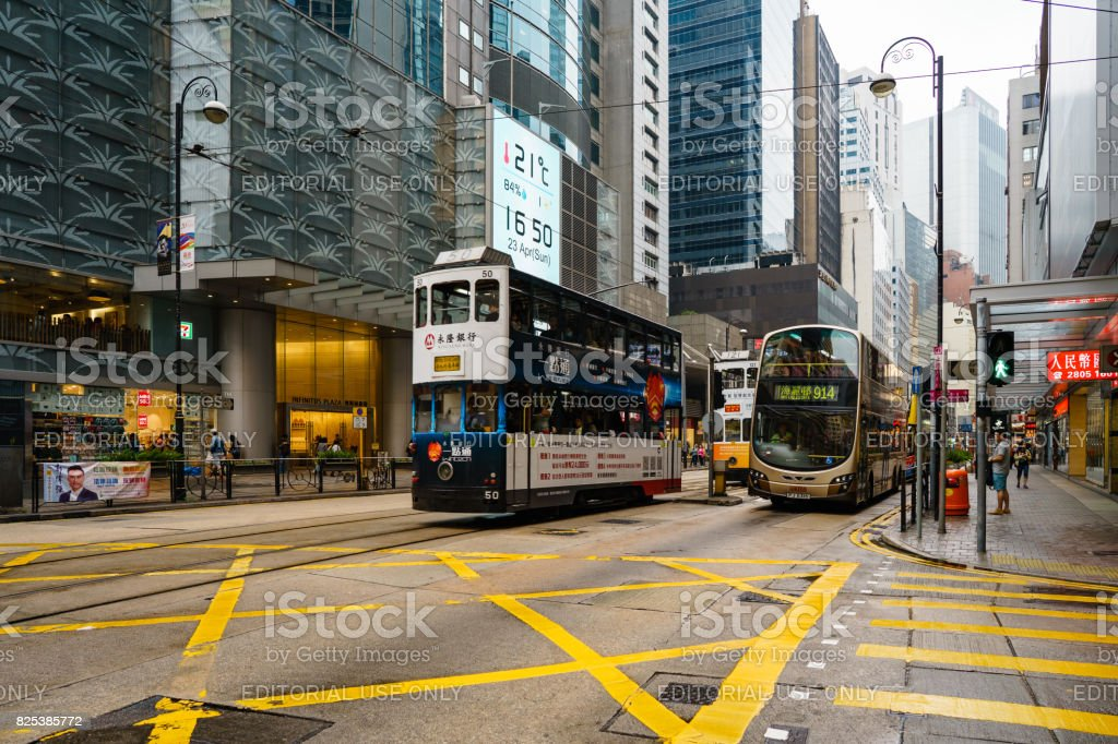 Ding-ding tramways in central of Hong Kong stock photo