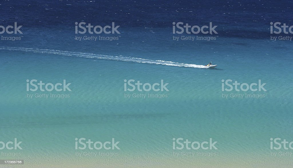 Dinghy running in Mediterranean paradise royalty-free stock photo