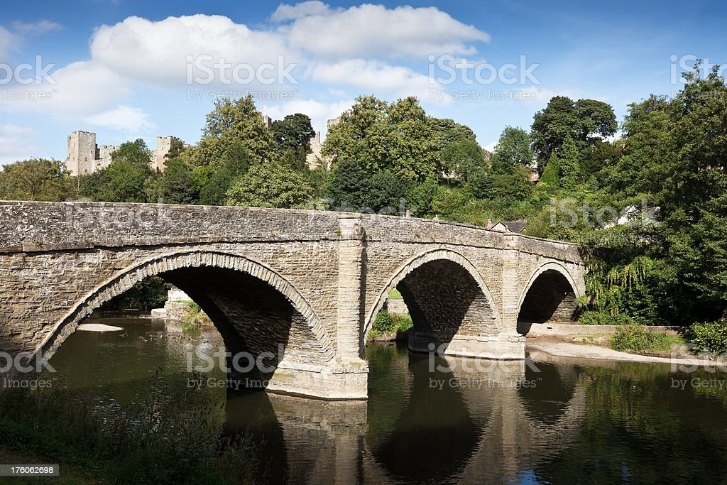 Dinham Bridge across River Teme at Ludlow stock photo