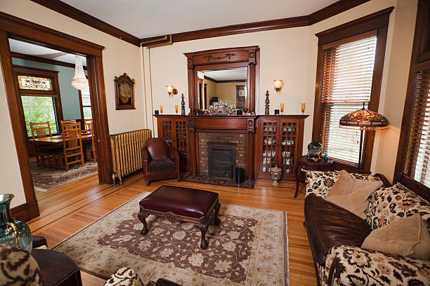 victorian style living room fireplace antique stock photos