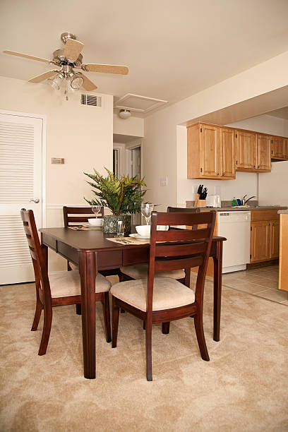 dining area in small apartment stock photo