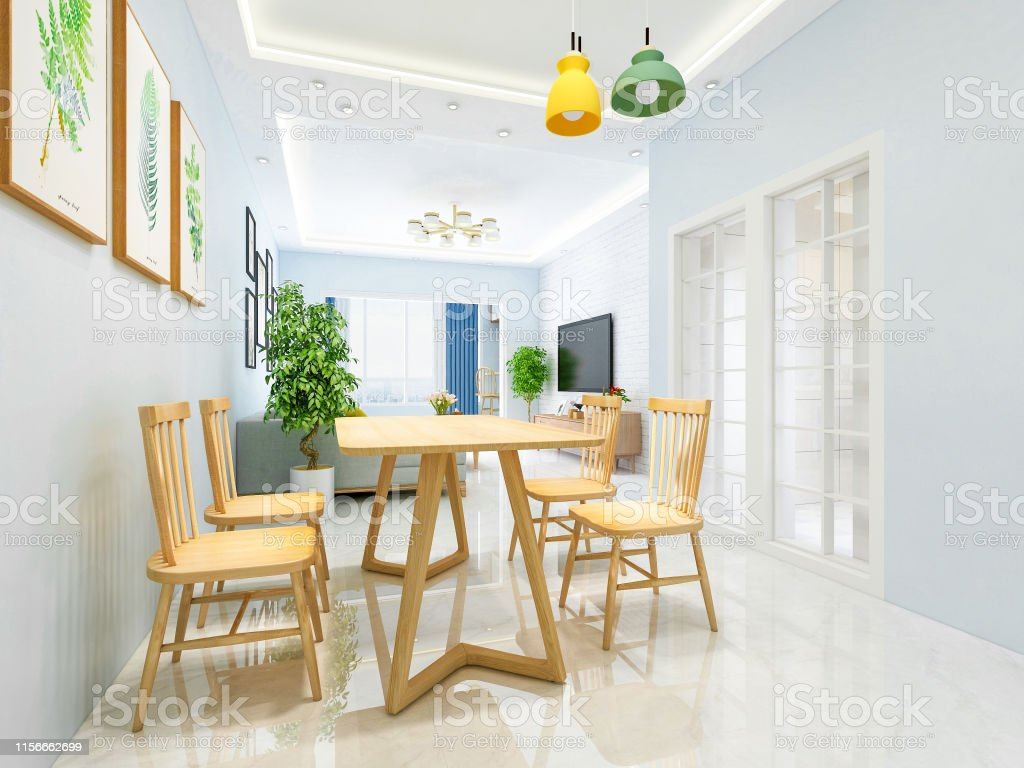 Dining Area In The Living Room Of A Modern Family With Solid Wood Dining Tables And Chairs Stock Photo Download Image Now Istock