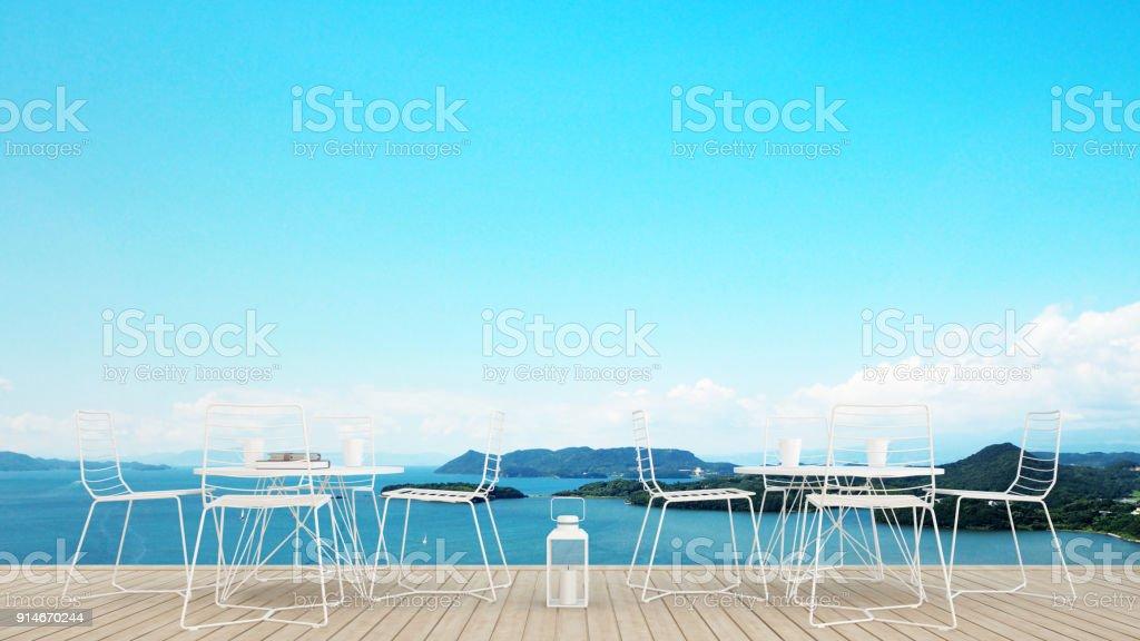 Comedor En Terraza Con Vista Al Mar En Hotel O Restaurante Comedor De Isla Vista Y Vista Al Mar Diseño Simple Obra De Arte Para Tiempo De Vacaciones