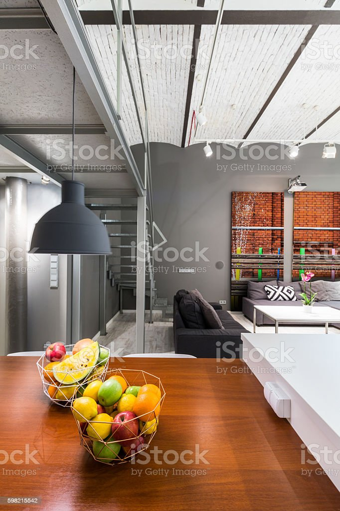 Dining area open to living room idea stock photo