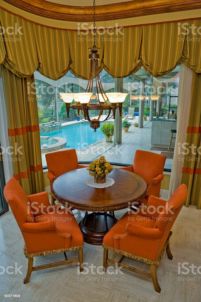 Dining Area Overlooking the Pool royalty-free stock photo